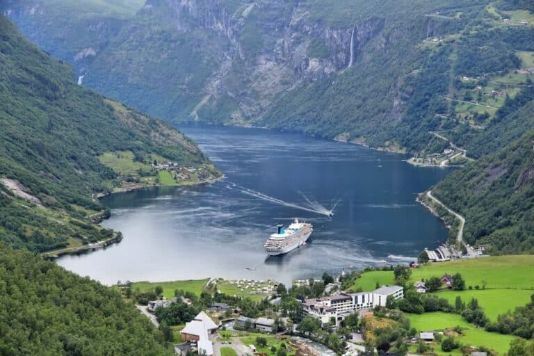 Geiranger Fiord in Norway. More og Romsdal county landscape.